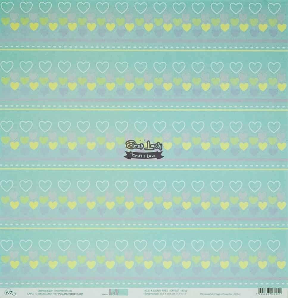 Papel Scrapbook Princesas Mini Tags e Corações - OK Scrapbook