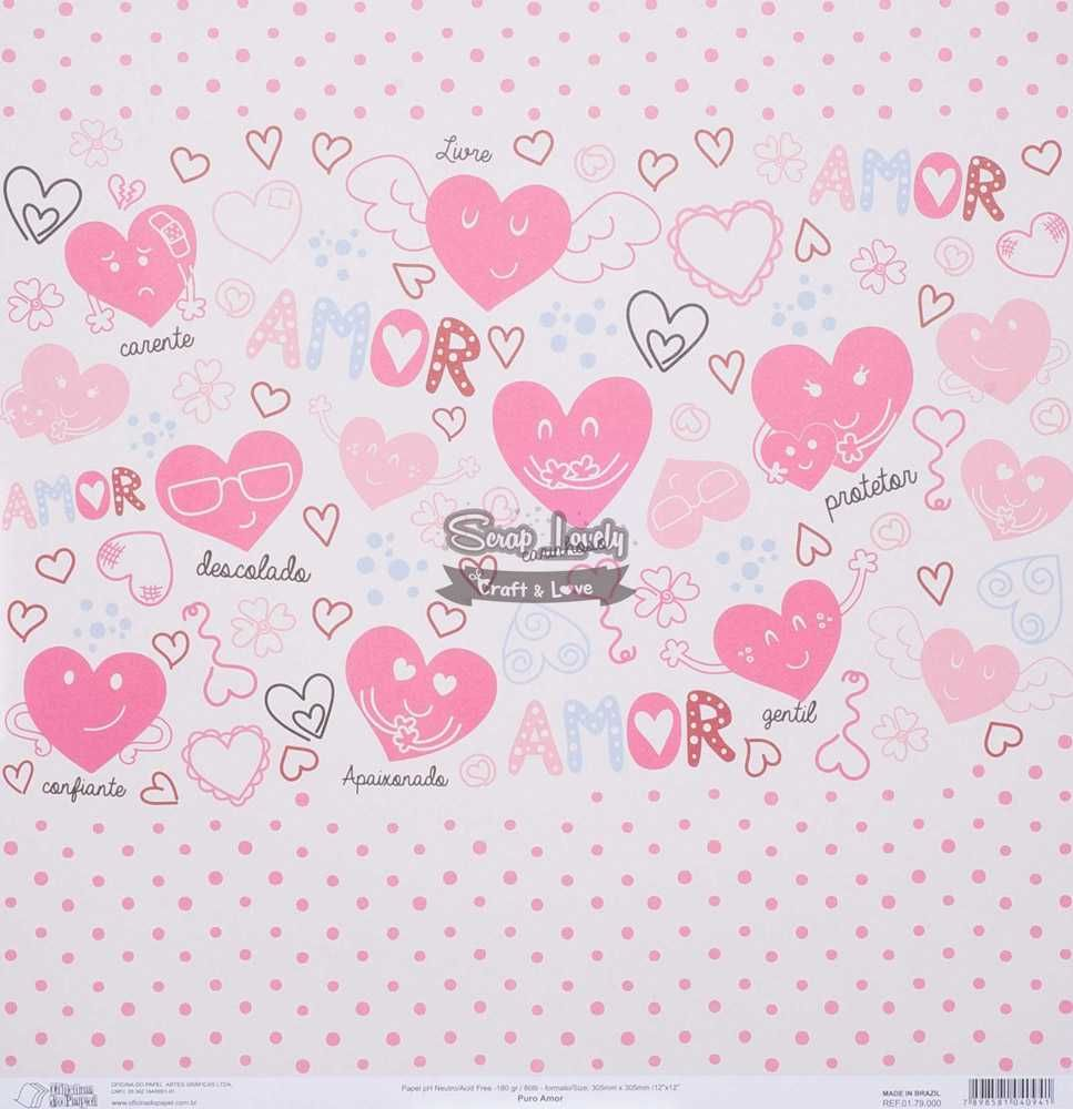 Papel Scrapbook Puro Amor - Oficina do Papel