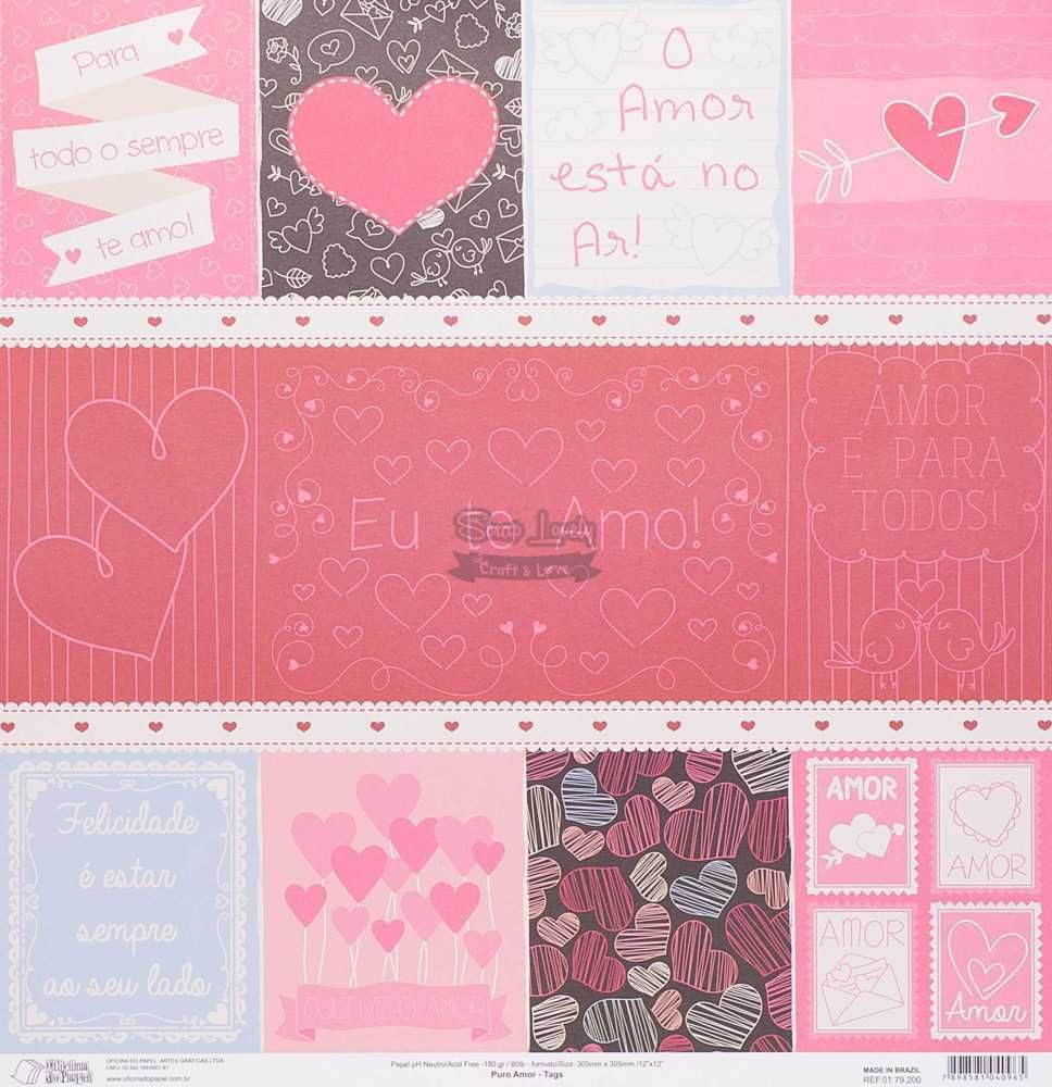 Papel Scrapbook Puro Amor Tags - Oficina do Papel