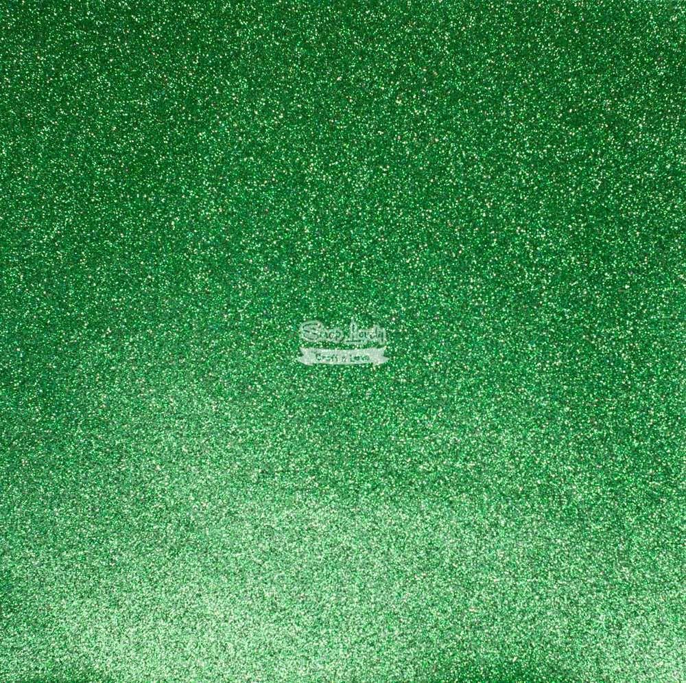 Papel Scrapbook Puro Glitter Verde Bandeira - Art e Montagem