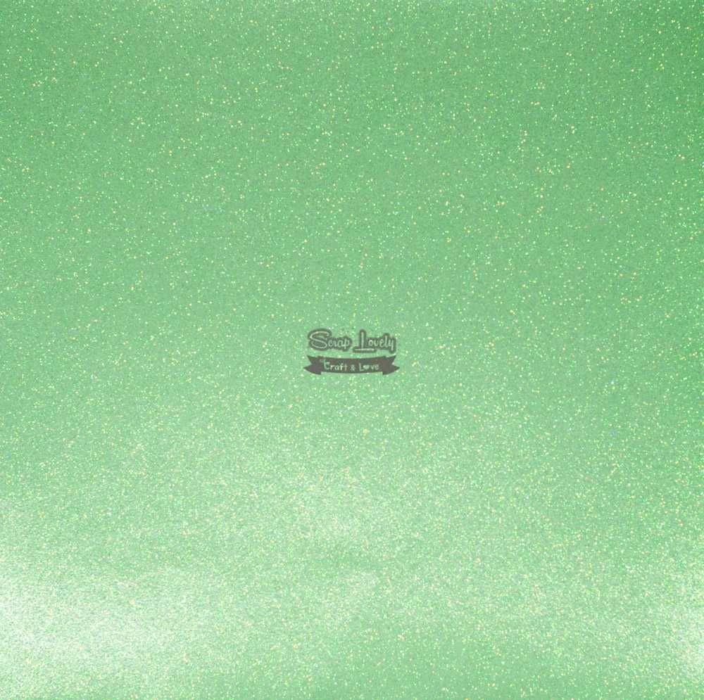 Papel Scrapbook Puro Glitter Verde Bebê - Art e Montagem