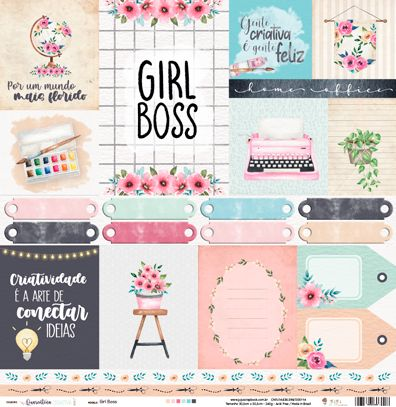 Papel Scrapbook Quarentena Criativa Girl Boss - JuJu Scrapbook