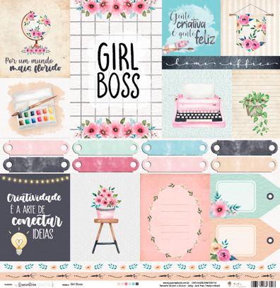 Papel Scrapbook Quarentena Criativa Girl Boss - JuJu Scrapbook