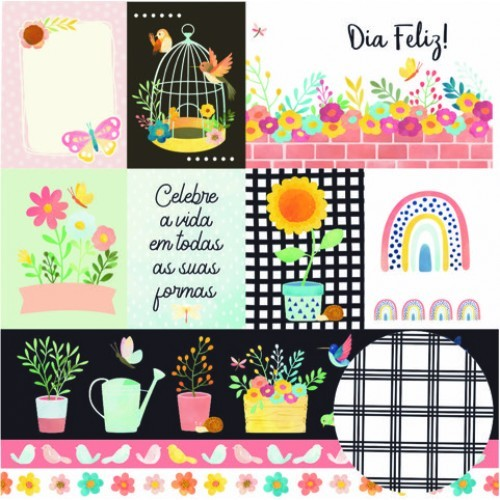Papel Scrapbook Regando Flores Cards - Oficina do Papel