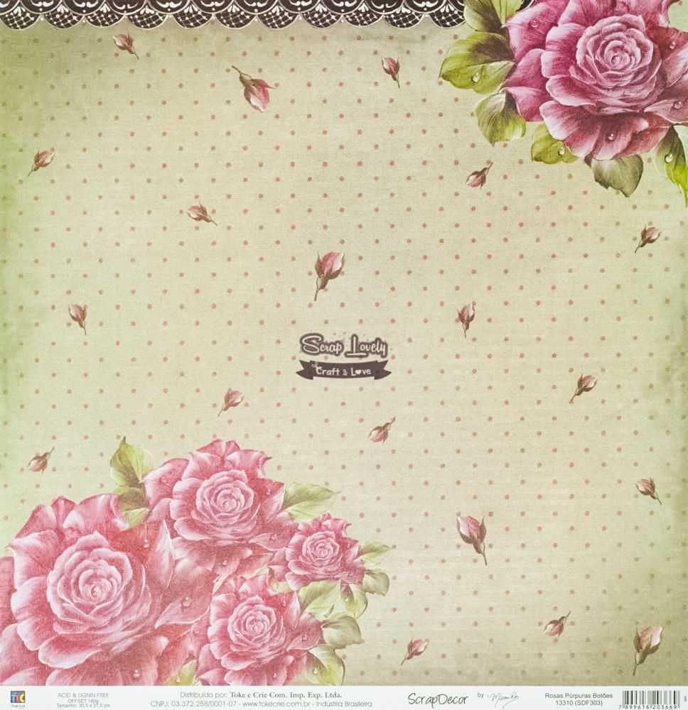 Papel Scrapbook Rosas Púrpuras Botões - Toke e Crie