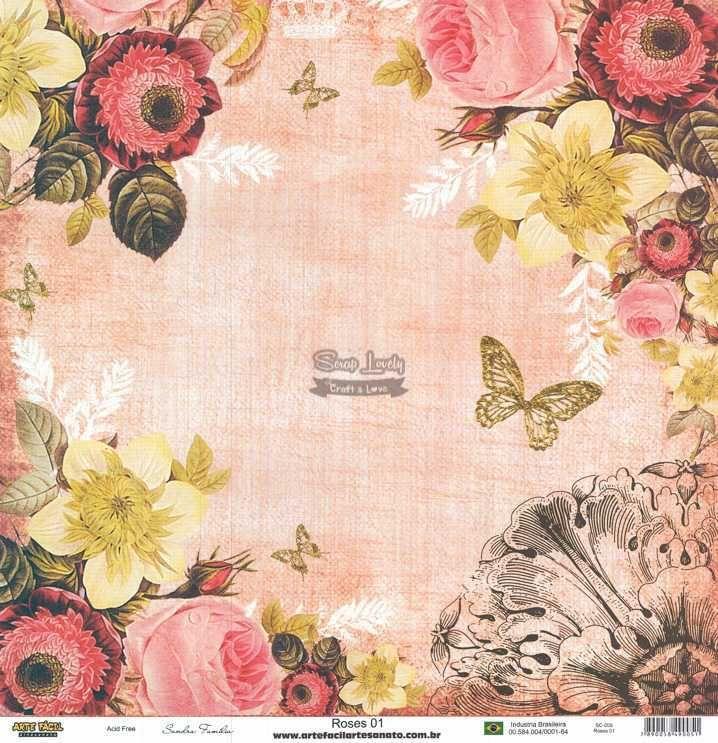 Papel Scrapbook Roses 01 - Arte Fácil