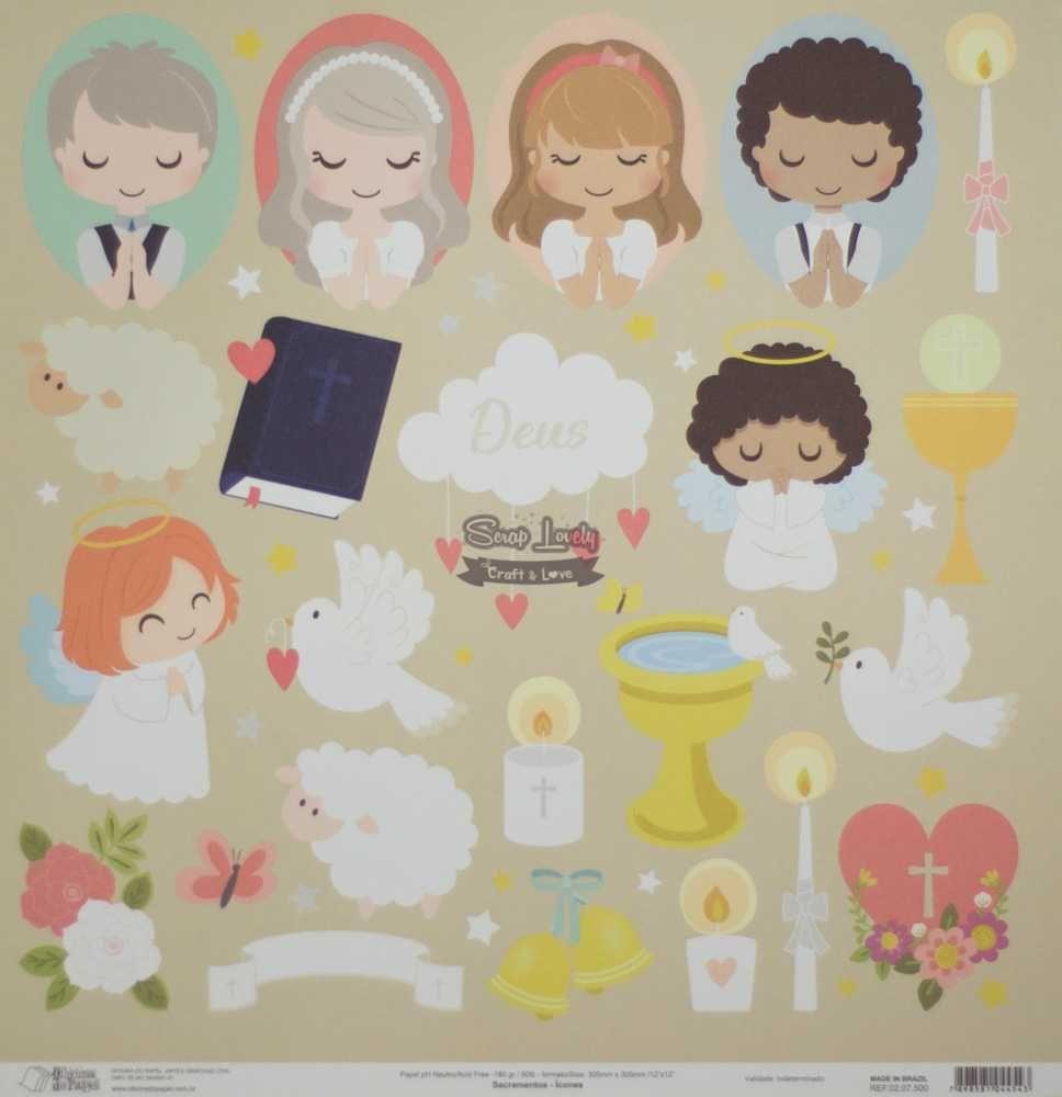 Papel Scrapbook Sacramentos Ícones - Oficina do Papel