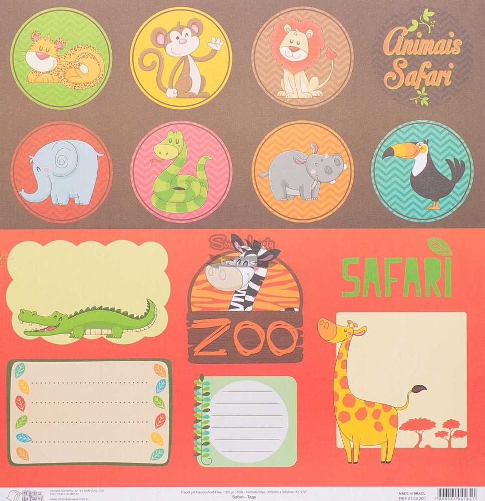 Papel Scrapbook Safari Tags - Oficina do Papel