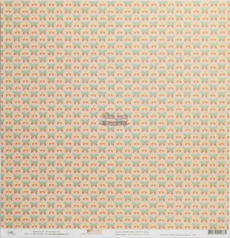 Papel Scrapbook Shabby Chic Borboletas Shabby Pequena e Grande - OK Scrapbook