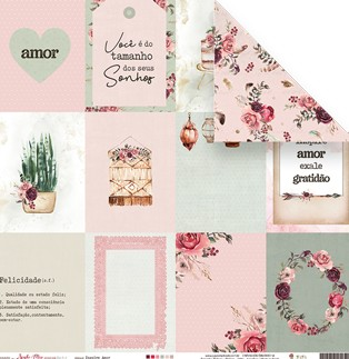 Papel Scrapbook Sonho Meu Inspire Amor - Juju Scrapbook
