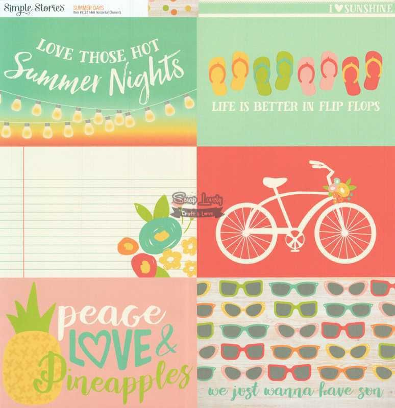 Papel Scrapbook Summer Days 4x6 Horizontal Elements - Simple Stories