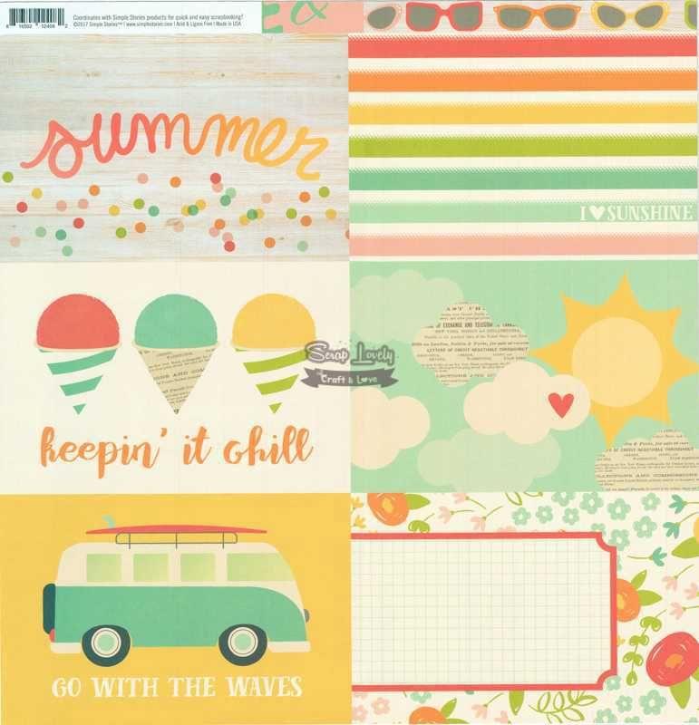 Papel Scrapbook Summer Days 4x6 Horizontal Elements - Simple Stories