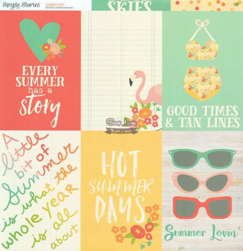 Papel Scrapbook Summer Days 4x6 Vertical Elements - Simple Stories