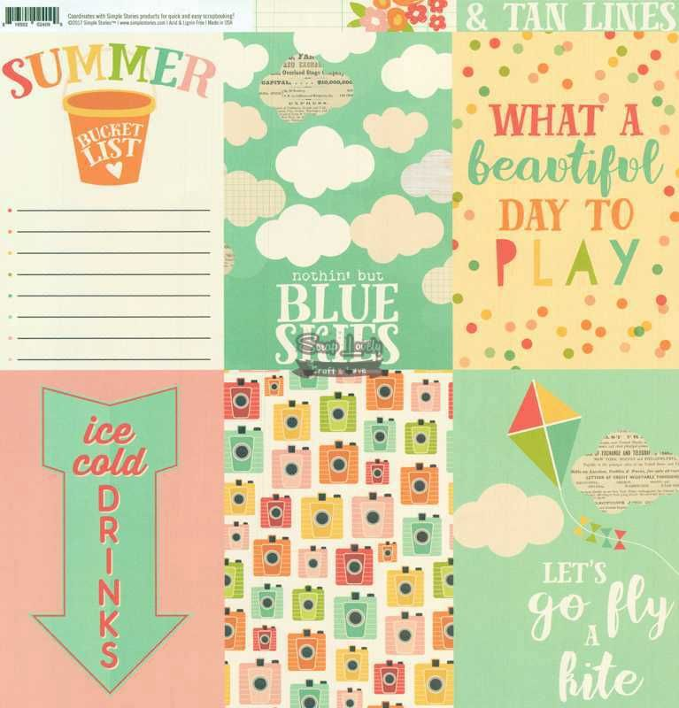 Papel Scrapbook Summer Days 4x6 Vertical Elements - Simple Stories