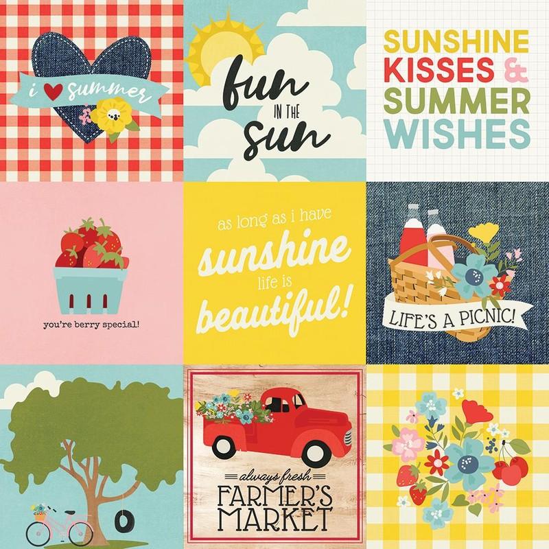 Papel Scrapbook Summer Farmhouse 3x4 Elements - Simple Stories