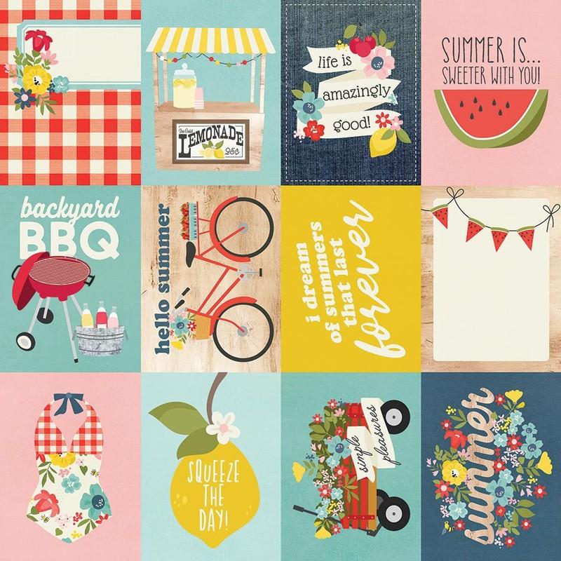 Papel Scrapbook Summer Farmhouse 4x4 Elements - Simple Stories
