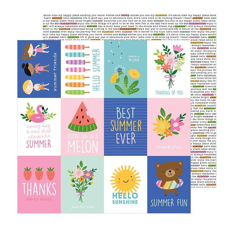 Papel Scrapbook Sun & Fun Sun e Fun Quotes - Pebbles