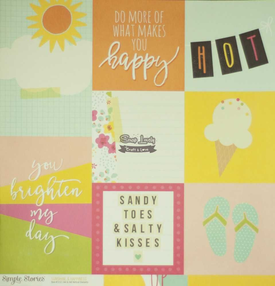 Papel Scrapbook Sunshine and Happiness 4x4 & 4x6 Vertical Elements - Simple Stories
