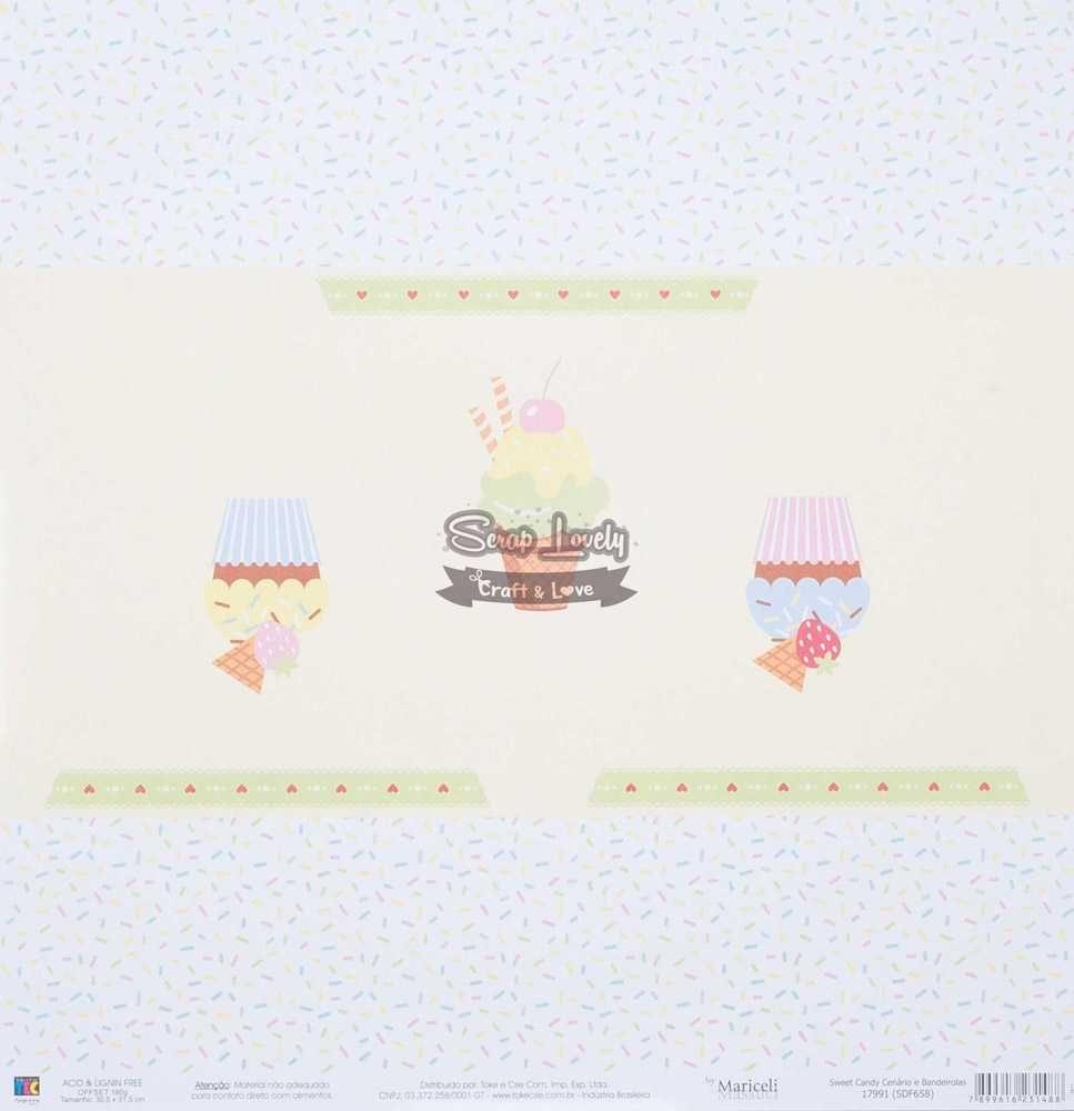 Papel Scrapbook Sweet Candy Cenário e Bandeirolas - Toke e Crie