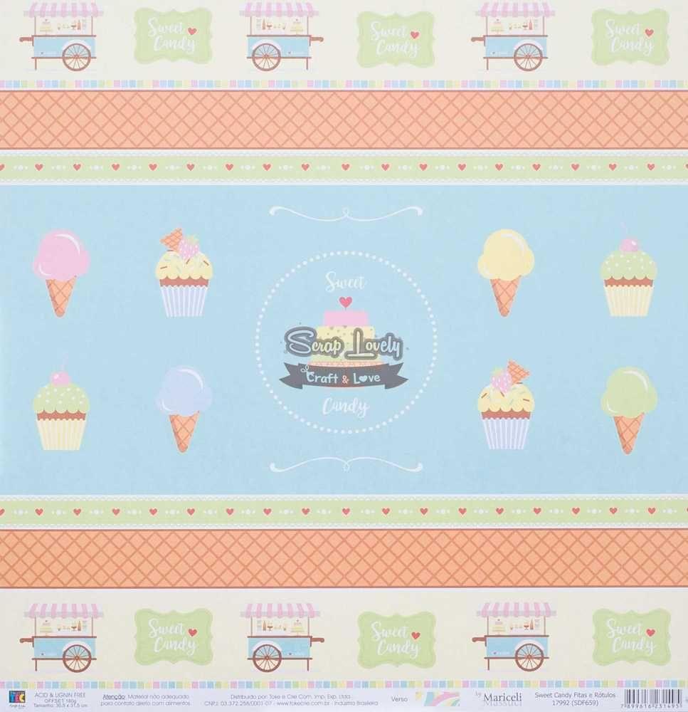 Papel Scrapbook Sweet Candy Fitas e Rótulos - Toke e Crie