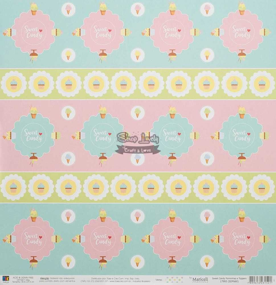 Papel Scrapbook Sweet Candy Forminhas e Toppers - Toke e Crie