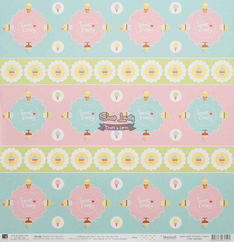 Papel Scrapbook Sweet Candy Forminhas e Toppers - Toke e Crie