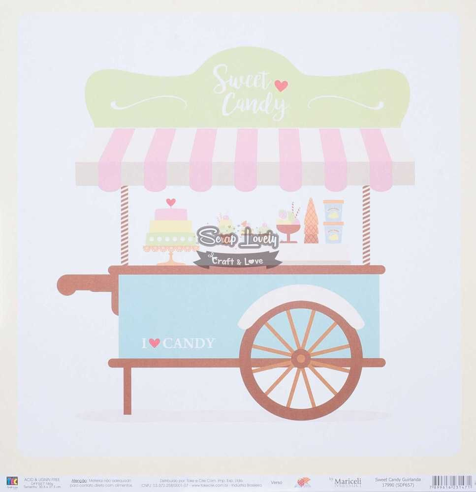 Papel Scrapbook Sweet Candy Guirlanda - Toke e Crie