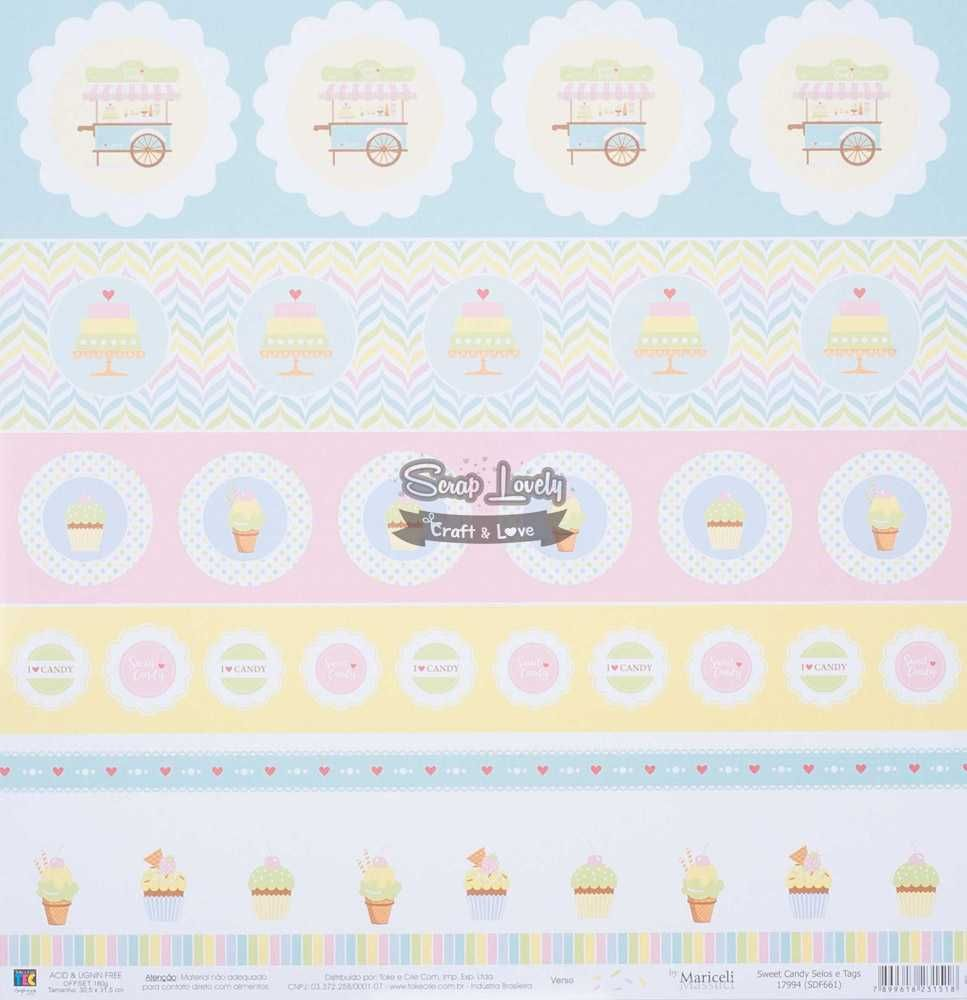 Papel Scrapbook Sweet Candy Selos e Tags - Toke e Crie