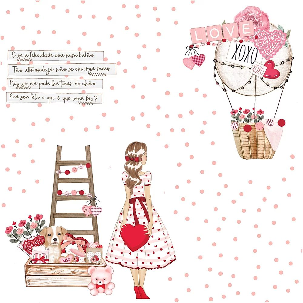 Papel Scrapbook Sweet Love Apaixonada - Dany Peres