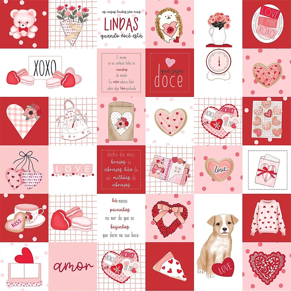 Papel Scrapbook Sweet Love Drops - Dany Peres