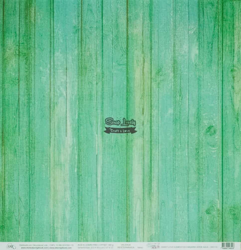 Papel Scrapbook Sweet Love Elementos e Madeira Verde Água - OK Scrapbook