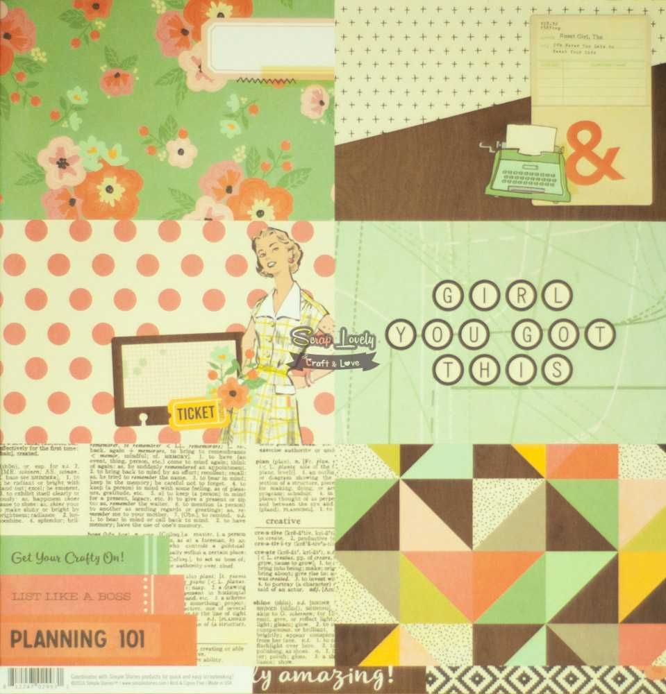 Papel Scrapbook The Reset Girl 4x4 & 4x6 Vertical Elements - Simple Stories