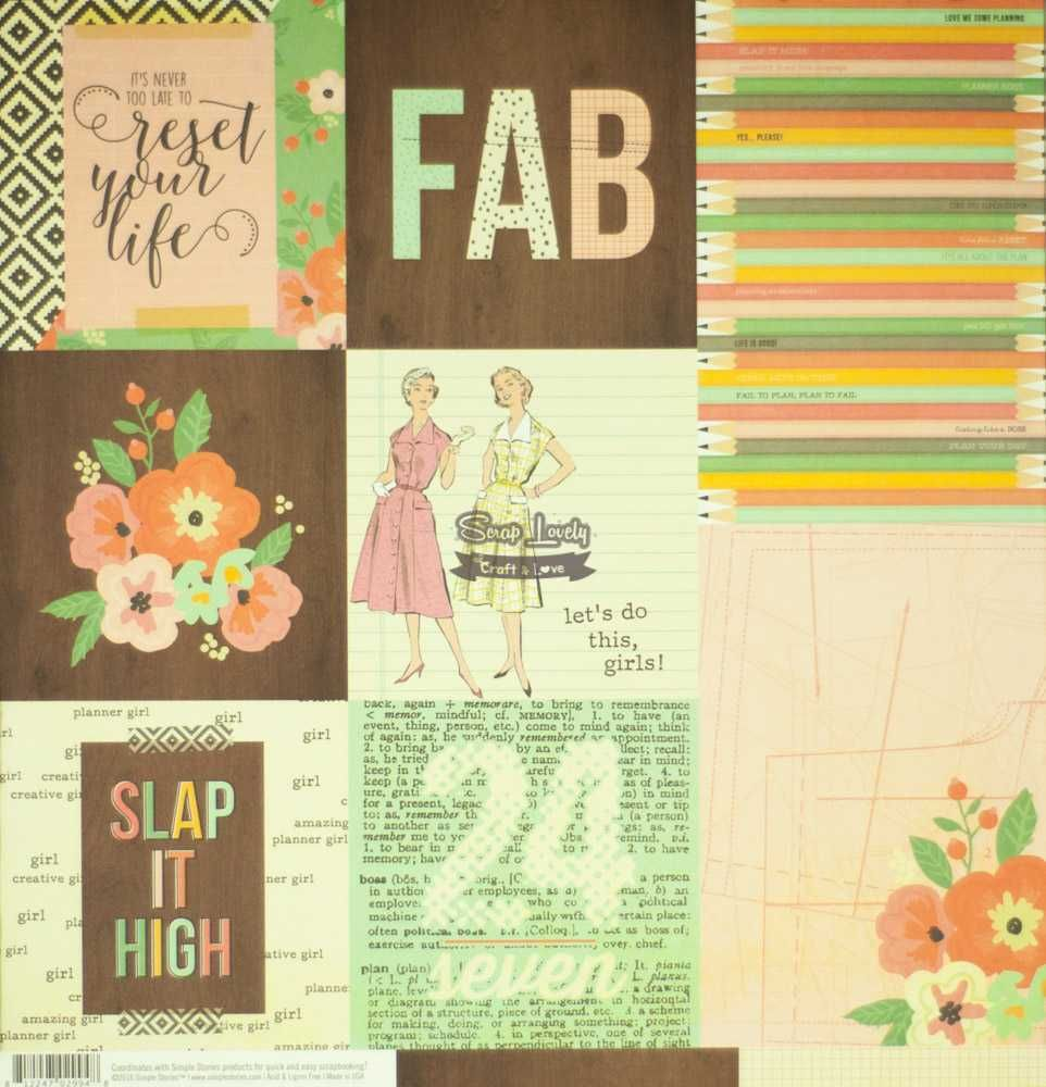 Papel Scrapbook The Reset Girl 4x6 Horizontal Journaling Elements - Simple Stories