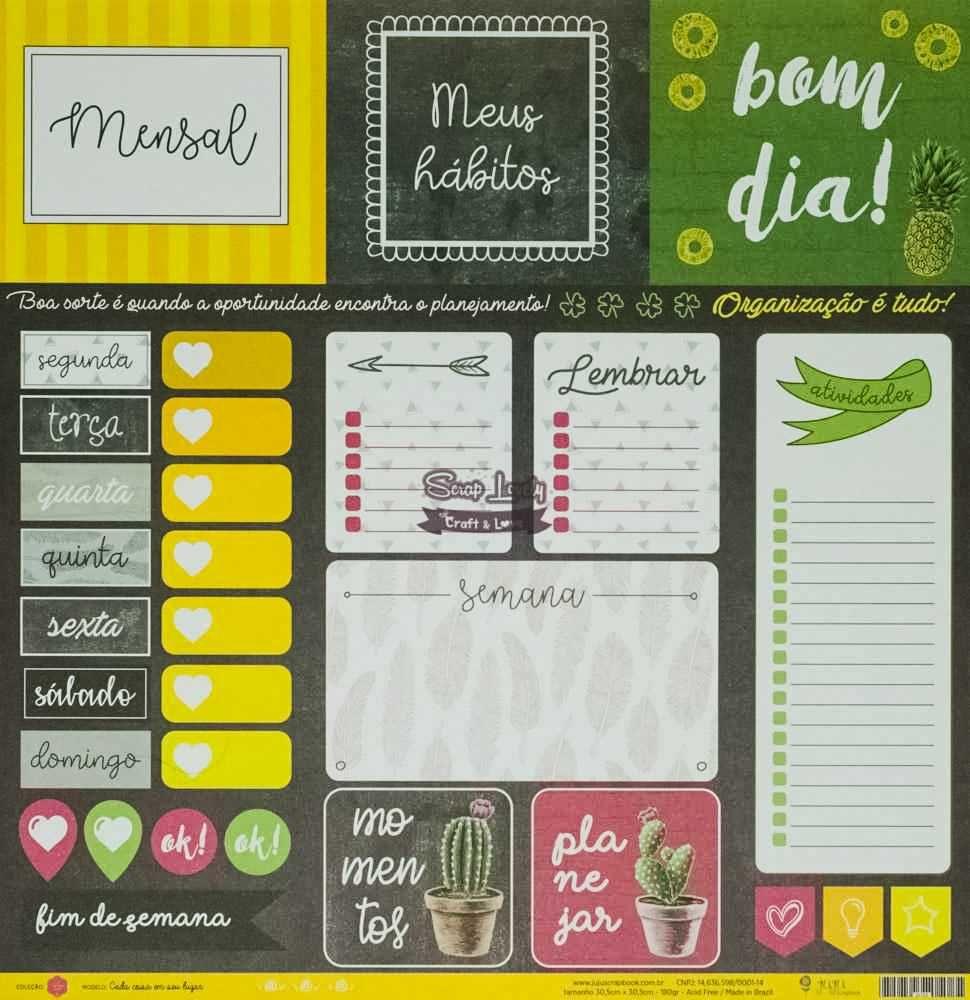 Papel Scrapbook Todo Momento Importa Cada Coisa em Seu Lugar - JuJu Scrapbook