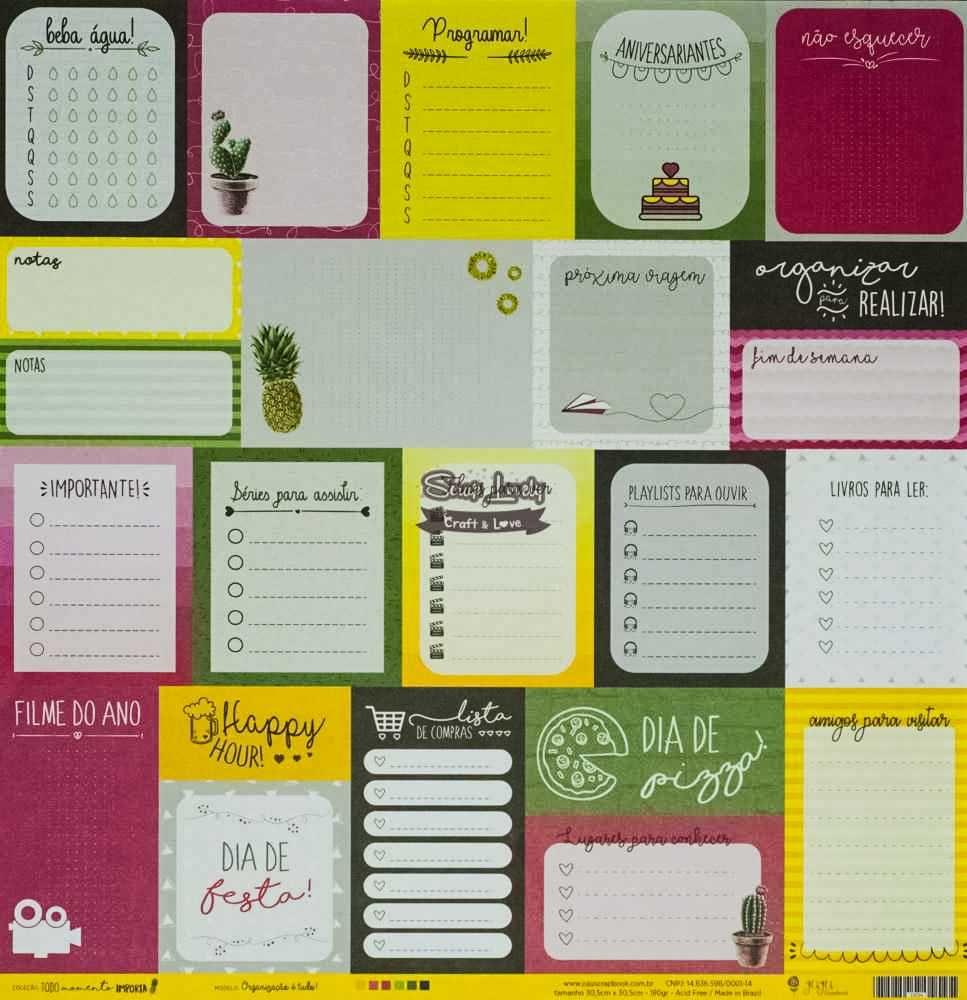 Papel Scrapbook Todo Momento Importa Organização é Tudo - JuJu Scrapbook