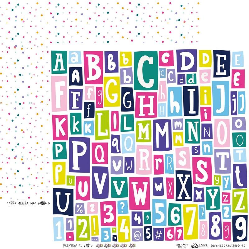 Papel Scrapbook Todos os Sonhos do Mundo Palavras ao Vento - Atelie Craft