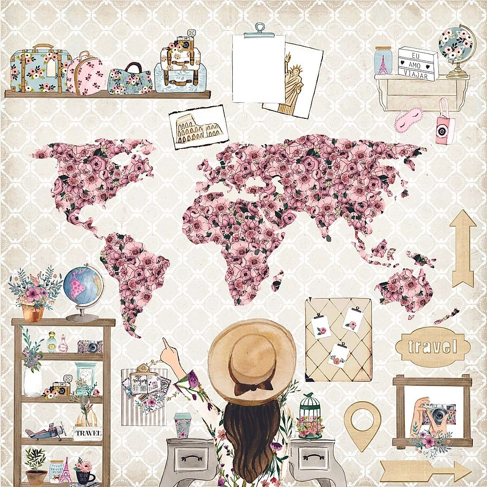 Papel Scrapbook Travel Girl Próximo Destino - Dany Peres