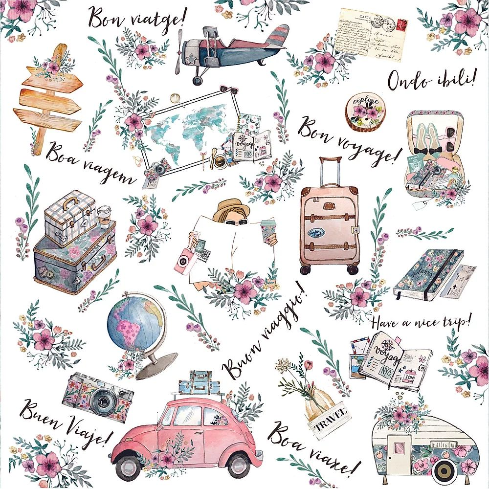 Papel Scrapbook Travel Girl Volta ao mundo - Dany Peres