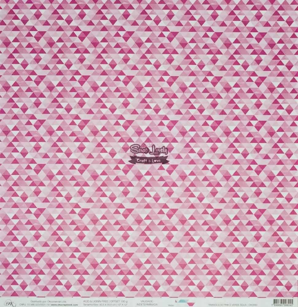 Papel Scrapbook Triângulos Pink e Verde Água - OK Scrapbook
