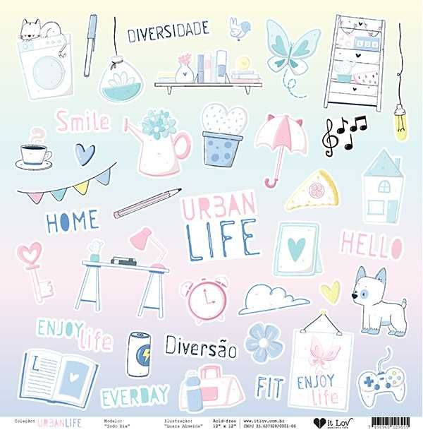 Papel Scrapbook Urban Life Todo Dia - It Lov