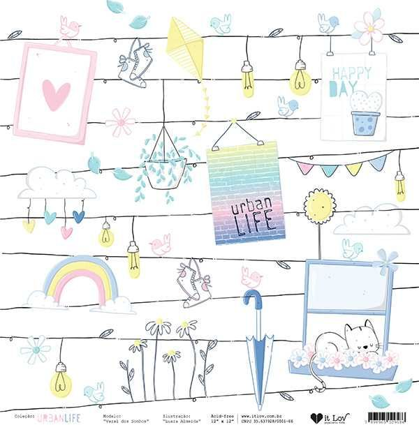 Papel Scrapbook Urban Life Varal dos Sonhos - It Lov