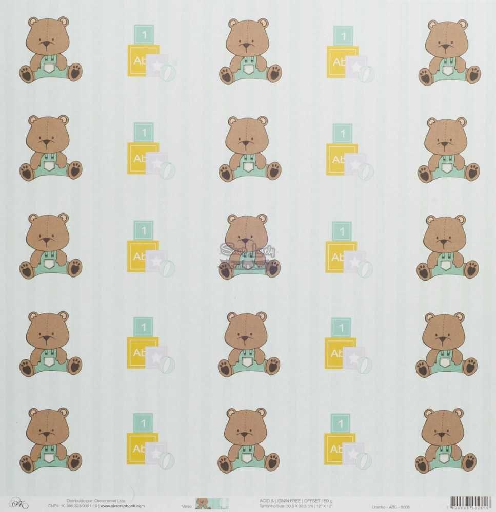 Papel Scrapbook Ursinhos Ursinho ABC - OK Scrapbook