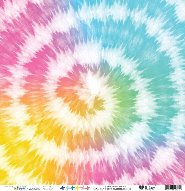 Papel Scrapbook Vegetal Mais Boas Vibrações Tie Dye - It Lov