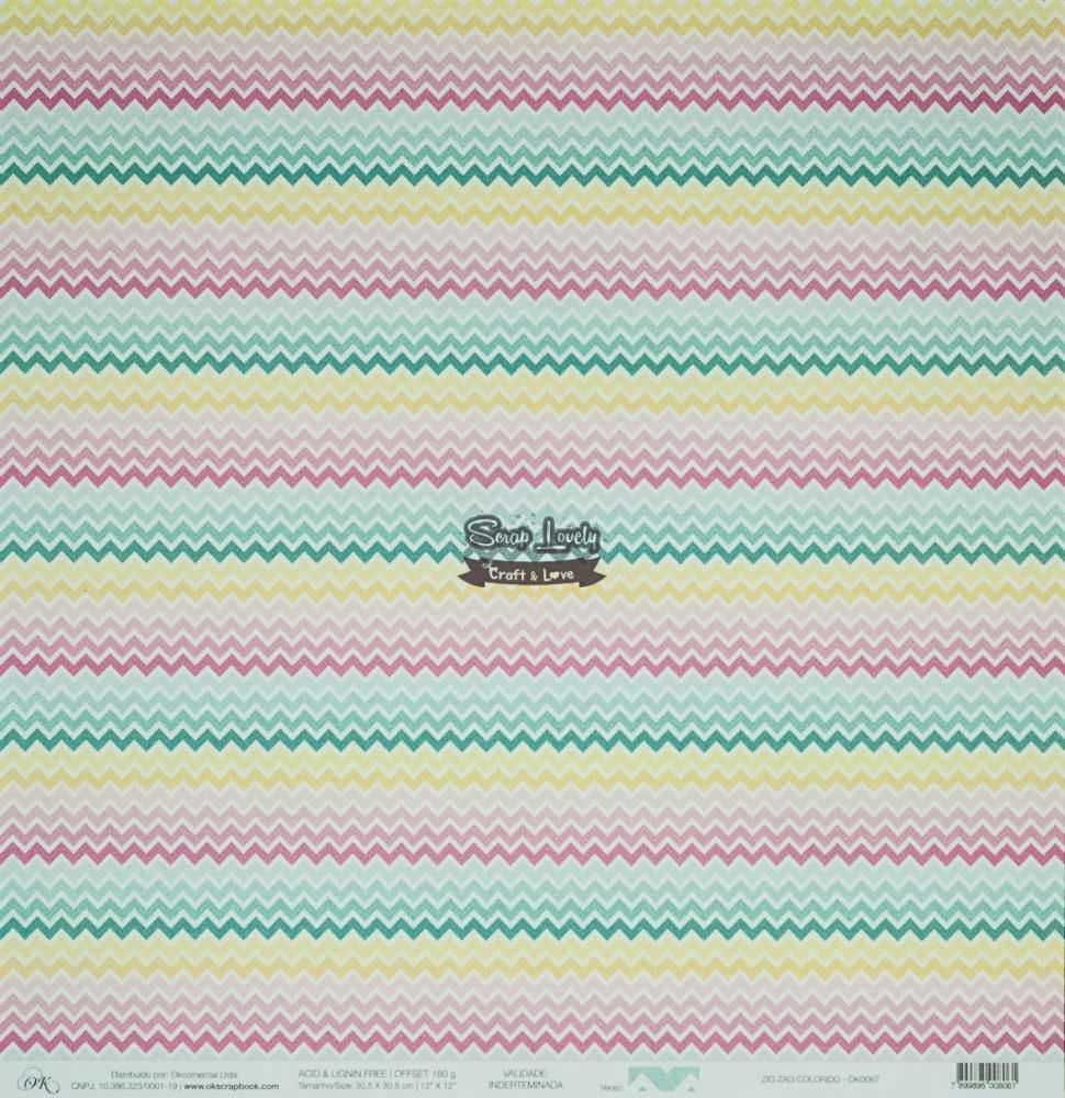 Papel Scrapbook Verão Zig Zag Colorido - OK Scrapbook