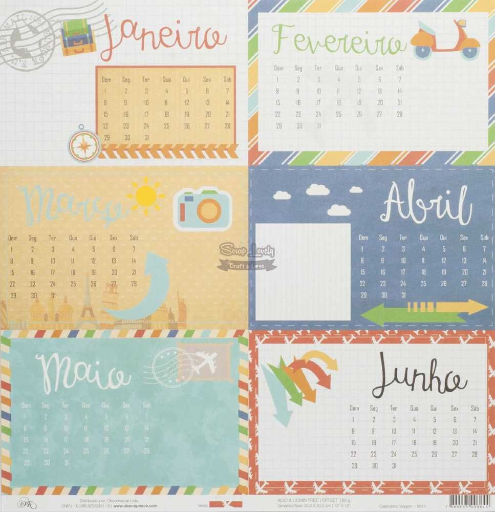 Papel Scrapbook Viagem Calendário Viagem - OK Scrapbook