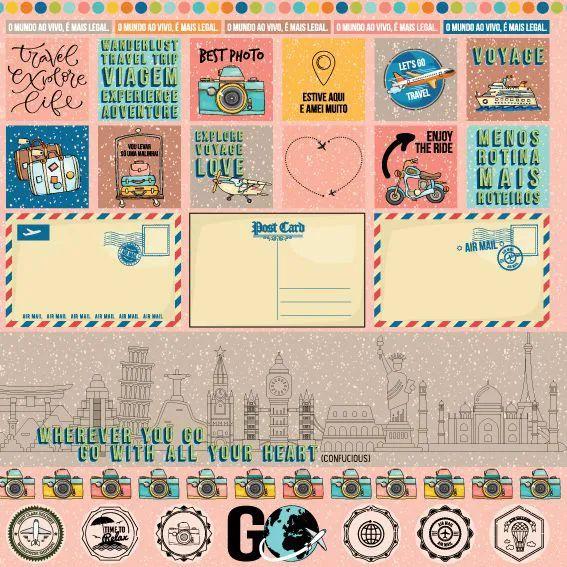 Papel Scrapbook Viagem Cartão Postal - Scrap Goodies