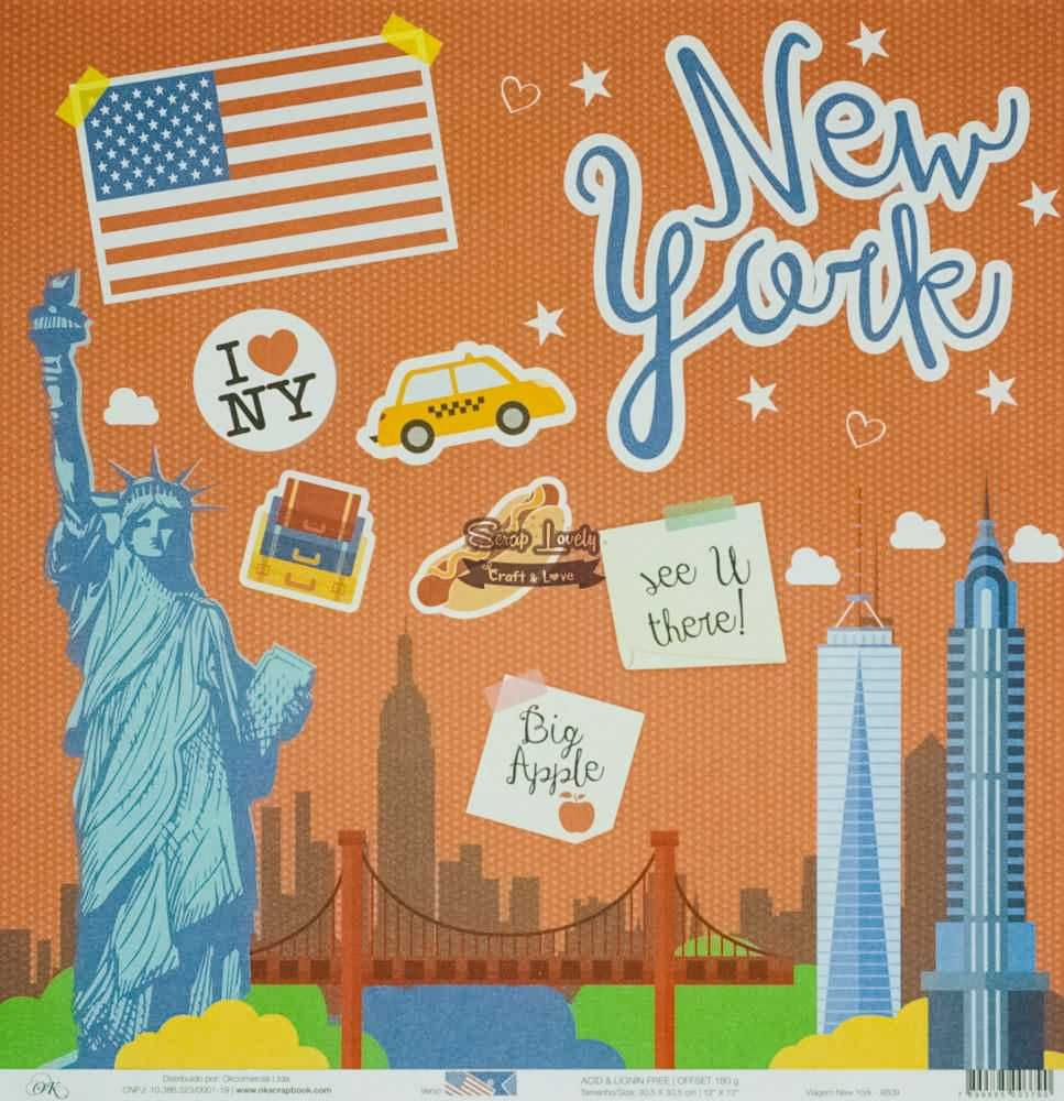 Papel Scrapbook Viagem New York - OK Scrapbook