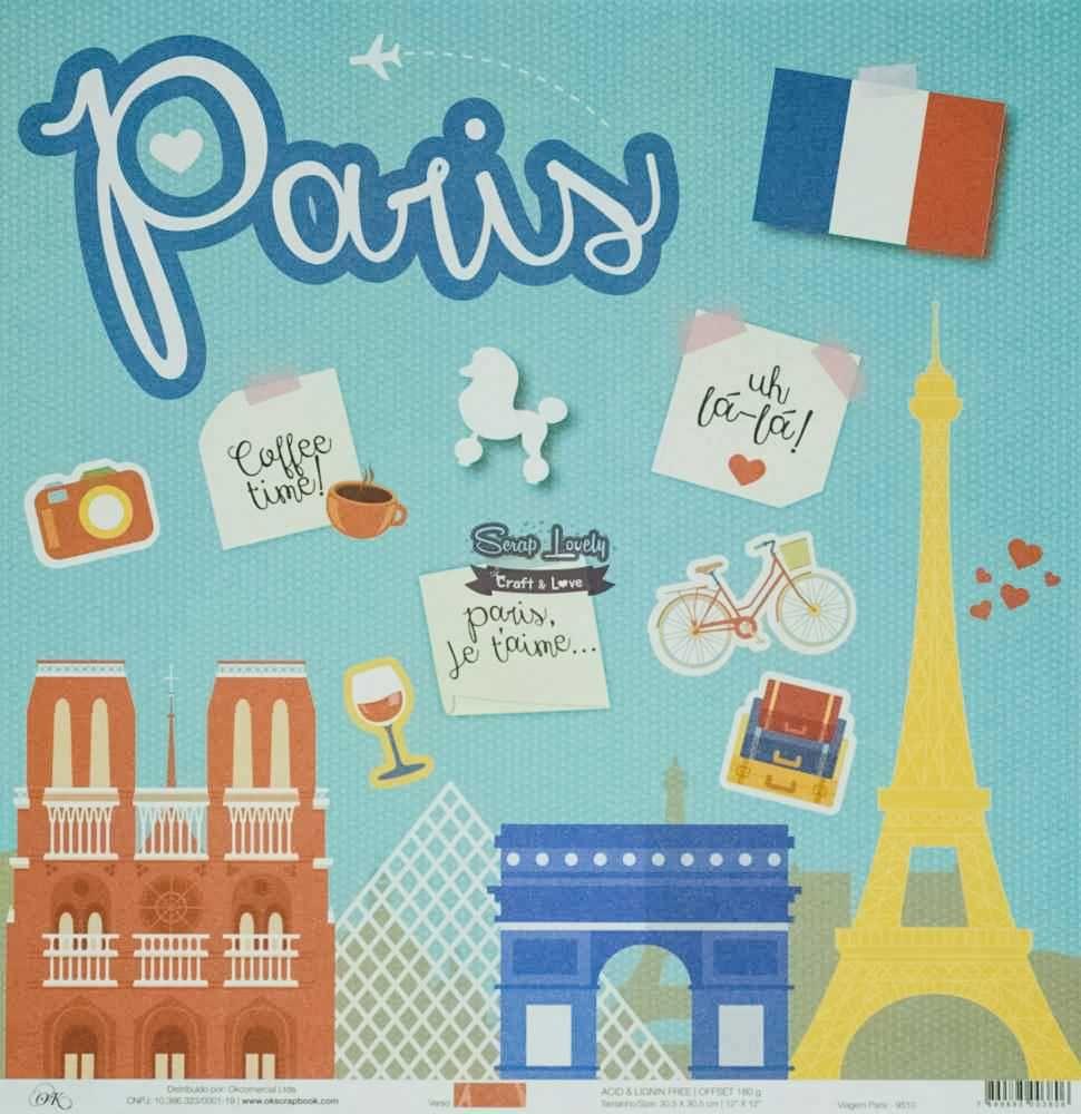Papel Scrapbook Viagem Paris - OK Scrapbook