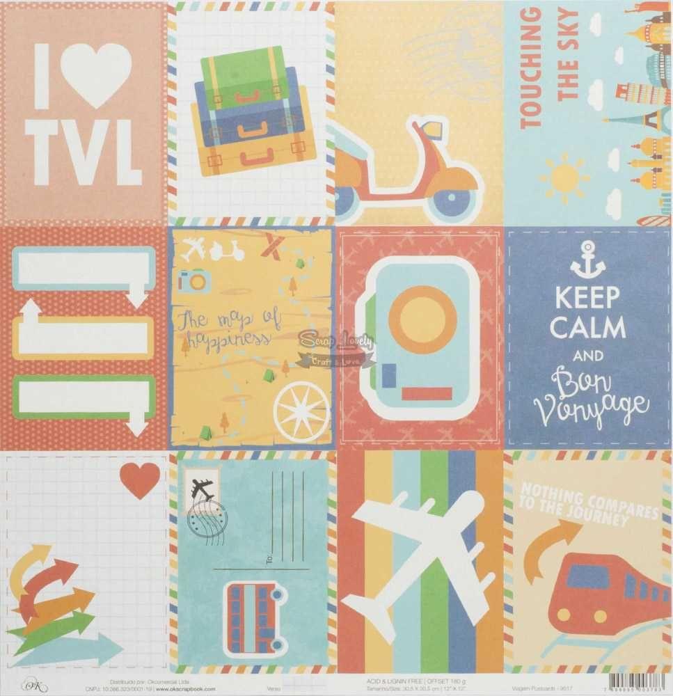 Papel Scrapbook Viagem Postcards - OK Scrapbook