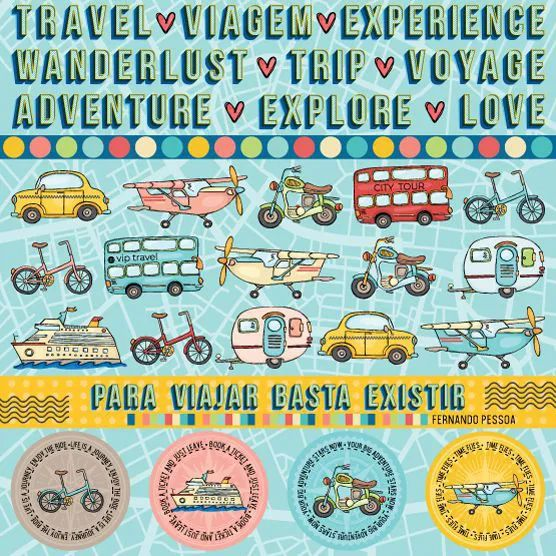 Papel Scrapbook Viagem Transportes - Scrap Goodies